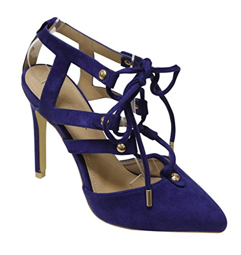 Voor Altijd Katelyn-22 Dames Stiletto Strappy Metalen Punt Lace-up Jurk Amandelkleurige Neus Sandalen Blauw