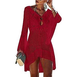 Jinsha Vestido de Playa - Mujer Pareos y Camisola de Playa Sexy Hueco Traje de Baño Punto Bikini Cover up | DeHippies.com