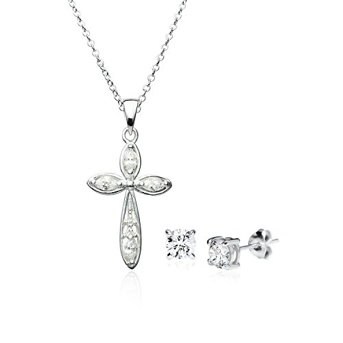 CZ Christian Cross Pendant Necklace - Sterling Silver Round 5mm Cubic Zirconia Stud Earrings Set