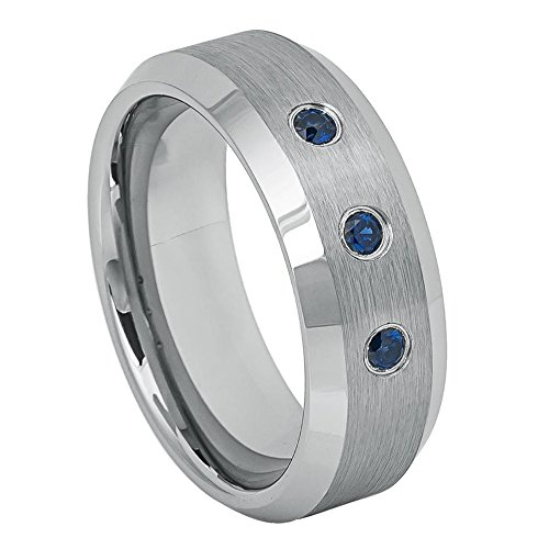 Double Accent 8MM Comfort Fit Tungsten Carbide Wedding Band Beveled Edge 0.21ct Blue Sapphire Brushed Ring (8 to 12), 10