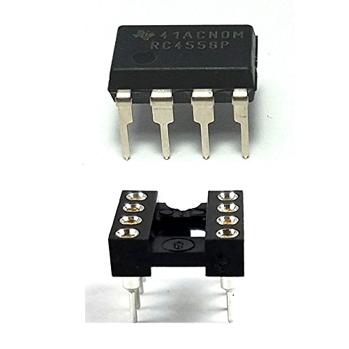 (Juried Engineering Texas Instruments RC4558P IC Dual Operational Amplifier & 8-Pin DIP Sockets with Machined Contact Pins Breadboard-Friendly (Pack of 2))