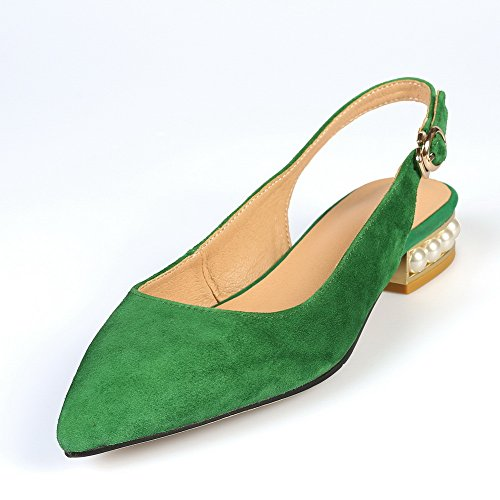 Chunky Beaded 1TO9 Buckle Heels Flats Womens Lambskin Green MJS02958 Sandals CwIIqB