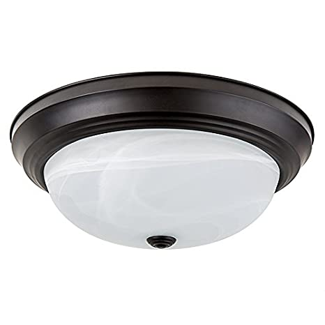 quality design dbf34 26b40 LB72128 LED Flush Mount Dome Ceiling Fixture, Oil Rubbed Bronze, 13-Inch,  3000K Warm White, 1400 Lumens, Energy Star Dimmable