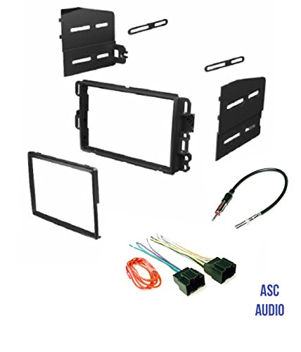 ASC Car Stereo Dash Kit, Wire Harness, and Antenna Adapter Combo to Add a Double Din Radio for some Buick Chevrolet GMC Pontiac Saturn- most 2007-2011 Tahoe, Silverado, Suburban etc.- -