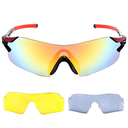 uxcell Xingsheng Authorised Cycling Bike Sunglasses 3 Interchangeable Lens Racing Running Sports Glasses Men Women Black - Sunglasses Lens Cycling 3