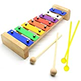 CELEMOON Natural Wooden Toddler Xylophone Glockenspiel For Kids with Multi-Colored Metal Bars Included Two Set of Child-Safe Wooden Mallets (8-tone)