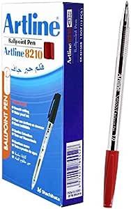 قلم  حبر جاف 1ملي لون احمر عبوة 12 قلم من ارتلاين EK-8210
