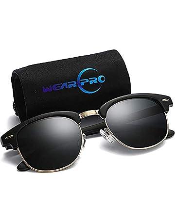 34f3b4d1b0a Clubmaster Sunglasses for Men Women - wearPro Retro Semi-Rimless Polarized  Sun Glasses WP2006