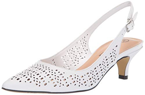 - Bella Vita Women's Sybil Cutout Slingback Pump, White Leather, 9 M US