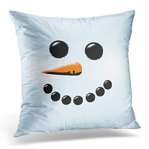 (Emvency Decorative Throw Pillow Cover Square Size 16x16 Inches Holiday Cute Snowman Face Winter Holiday Snowmen Pillowcase with Hidden Zipper Pillowcase Decor Cushion Gift for Sofa Bed)