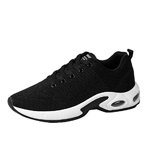 ASHOP Scarpe da Ginnastica Running Sneakers Basse Uomo Sportive Scarpe da Corsa Scarpe Fitness Estive Nero