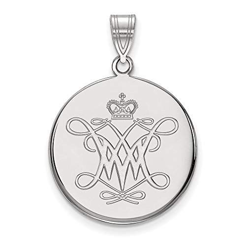 Jewelry Stores Network College of William & Mary Tribe School Logo Disc Pendant in Sterling Silver L - (22 mm x 21 mm)