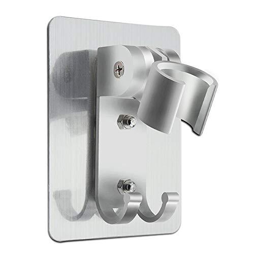 CoWalkers Soporte de ducha ajustable Soporte de montaje en pared con perchas Ganchos, Aluminio, Super Heavy Duty, adhesivo...