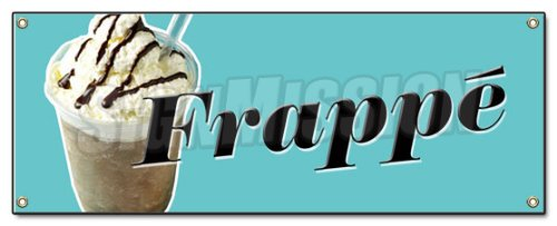 FRAPPE BANNER SIGN greek iced coffee cart cold signs For Sale
