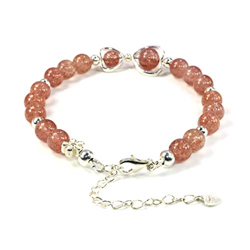 Jan&Dee Natural Strawberry Quartz 925 Silver Heart-Shaped Ring Semi Precious Crystal Bracelet 8mm