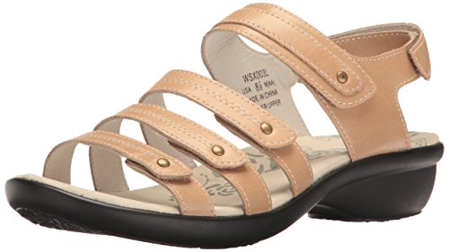 Propet Women's Aurora Wedge Sandal, Oyster, 9 W US