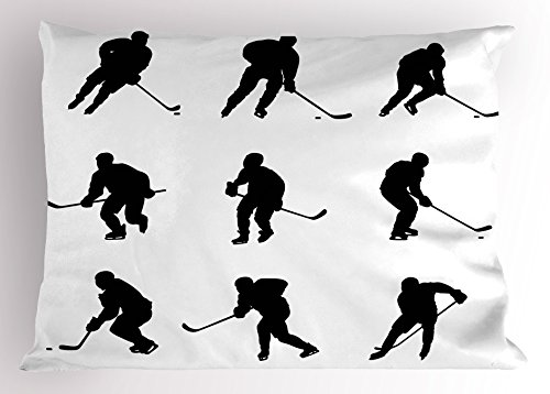 y Ambesonne, Collection of Player Silhouettes in Black and White Different Positions with Sticks, Decorative Standard Queen Size Printed Pillowcase, 30 X 20 Inches, Black White (Hockey Sham)