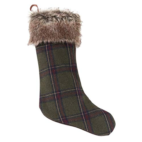 """Fennco Styles Holiday Checkered Plaid with Faux Fur Design Christmas Stocking (15""""x19"""" Stocking)"""