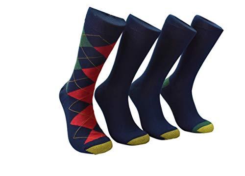 - Gold Toe - Men's Crew 4 Pack Scott's Argyle Dress Socks (Navy/Red)