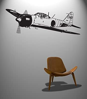 """Stickerbrand Military Vinyl Wall Art World War 2 WWII Fighter Plane Wall Decal Sticker (BLACK) - #348A 19"""" x 55"""". Easy to Apply & Removable."""