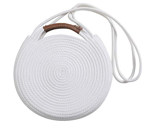 Round Cotton Rope Shoulder Bag with Leather Handles and Shoulder Strap, White ()