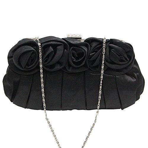 Flower With Clutch UK Wedding Long Bag Delivery Handbag Beautiful Bag Purse Satin Wocharm Black Chain Evening Party Xwtn65qR