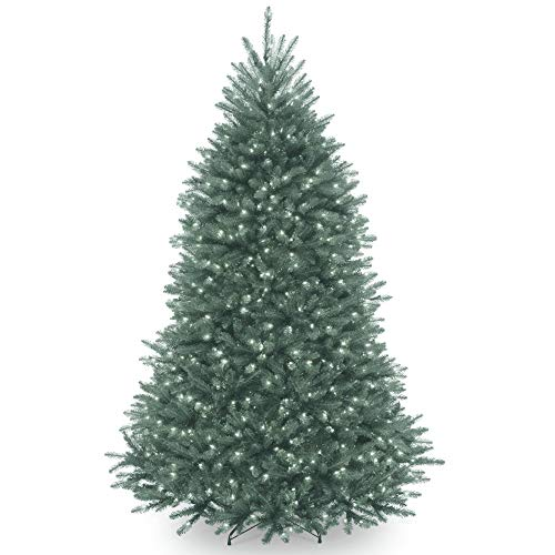 7' Pre-Lit Dunhill Blue Fir Hinged Artificial Christmas Tree - Clear Lights