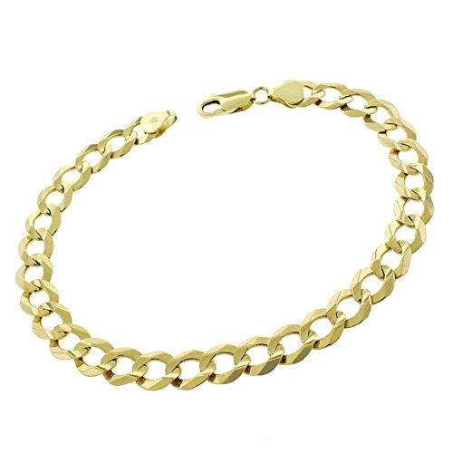 14k Yellow Gold 8.5mm Solid Cuban Curb Link Bracelet Chain 8
