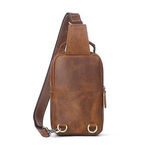 Bolso de hombro de la bolsa de mensajero del cuero de la cremallera del bolso de los hombres ocasionales retros (Color : Retro brown) Retro Brown