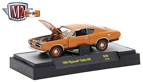 M2 Machines 1969 Plymouth Cuda 440 (Bronze Fire Metallic) - Detroit Muscle Release 39 2017 Castline Premium Edition 1:64 Scale Die-Cast Vehicle (R39 17-52)