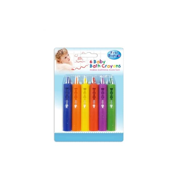 First Steps Pack of 6 Baby Bath Crayons for Fun in Bath Non Toxic Bath Toys