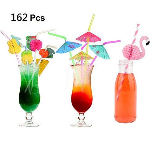 DINGJIN 162 Pieces Party Drinking Straws Umbrella Flamingo Fruit Drinking Straws for Luau Parties,Island Themed Party,Bars,Kitchen Supplies,Restaurants ()