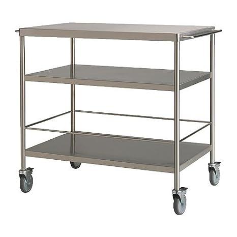 IKEA FLYTTA - carrito de cocina, acero inoxidable - 98 x 57 cm: Amazon.es: Hogar