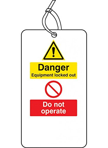 Caledonia Signs 55071 Lockout Tag, Danger Equipment Locked Out do not Operate, 80 mm x 150 mm (Pack of 10) Caledonia Signs Ltd