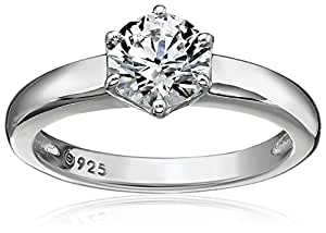 Platinum Plated Sterling Silver Solitaire Ring set with Round Swarovski Zirconia (1 cttw), Size 5