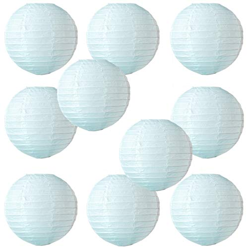 WYZworks Round Paper Lanterns 10 Pack (Light Blue, 10) - with 8, 10, 12, 14, 16 option