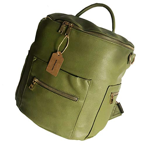 Alice Unique Faux Leather Diaper Bag Backpack, Shoulder and Convertible Interchangeable, Large Designer Organizer Bag with Insulated Pockets and Wipe Pouch for Baby Mommy (Olive)