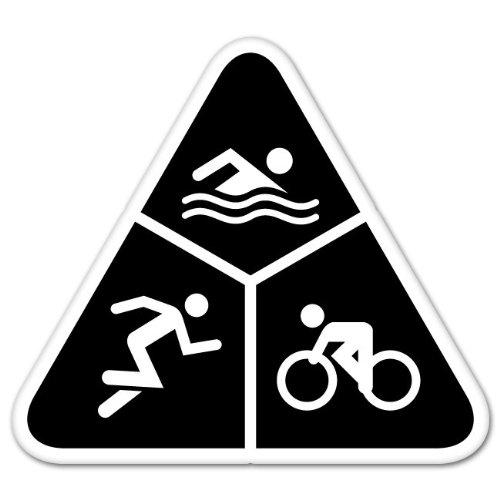"Ride in Style Triathlon Run Bike Swim car Bumper Sticker 4"" x 4"""