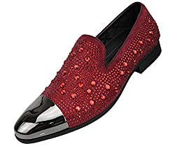 Men's Metal Tip Rhinestone Dress Shoes