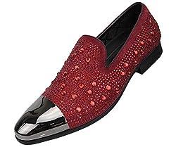 Men's Metal Tip Rhinestone Dress Shoes