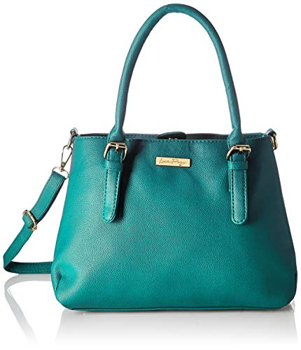 Leather Top Zip Shoulder Bag - Lica Pezo Cyan Women Handbag (Turquoise)