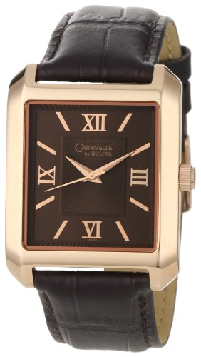 Caravelle by Bulova Men's 44A100 Rose-Tone and Brown Color Scheme Watch