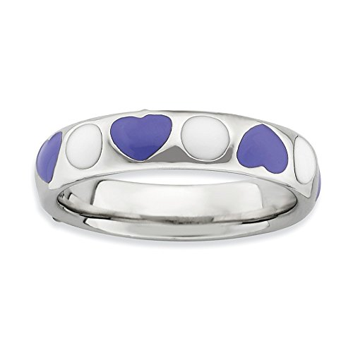 White Enameled Ring Band - 925 Sterling Silver Purple/white Enameled Band Ring Size 8.00 Stackable Ed Purple White Fine Jewelry Gifts For Women For Her
