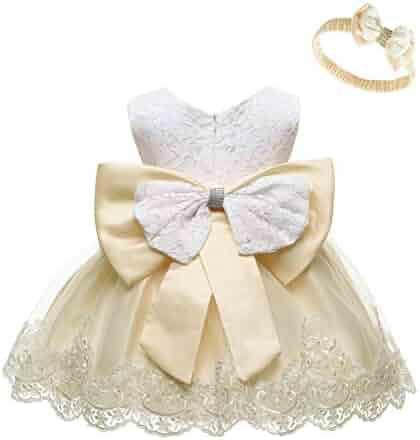 LZH Baby Girls Formal Dress Bowknot Baptism Embroidery Tutu Dress with Headwear