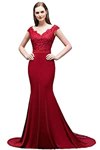 MisShow Double V-Neck Lace Applique Long Mermaid Evening Prom Dress for Women