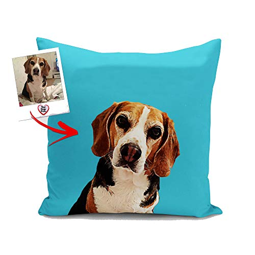ETYPE Personalized Dog Pillow Cover Custom Pet Portrait Throw Pillow Case Square Cushion Covers for Home Office Car Sofa 20 x 20 Inches ()