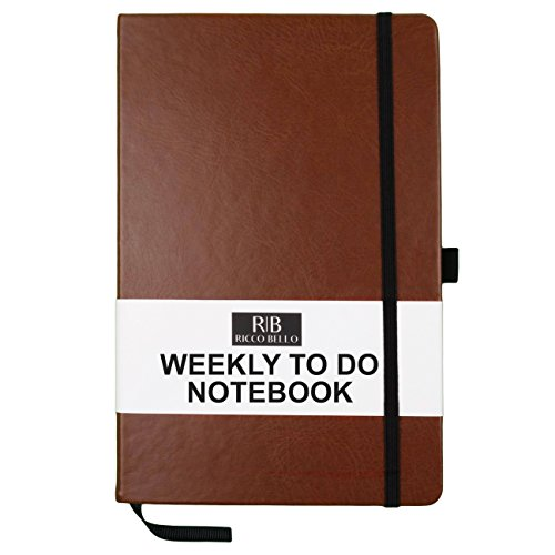 RICCO BELLO Weekly to Do Hardcover Notebook with Checklist, 5.7 x 8.4 inches (Brown)