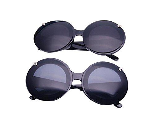Frame Black Retro Round JYR Up Lens Tide Layers Unisex Double Black Fashion Sunglasses Flip n1qZP1