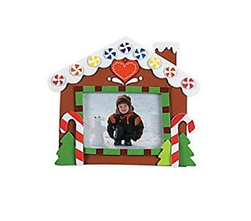 Bargain World Foam Gingerbread House Photo Frame Magnet Craft Kit (12/pkg) (with Sticky Notes)