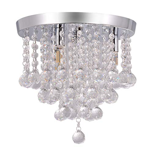 Chranto lucky 7 !!Father's day Chandelier Crystal Chandelier Lighting 3 Lights Flush Mount Ceiling Light  G9 - Mustang Ceiling Mounts